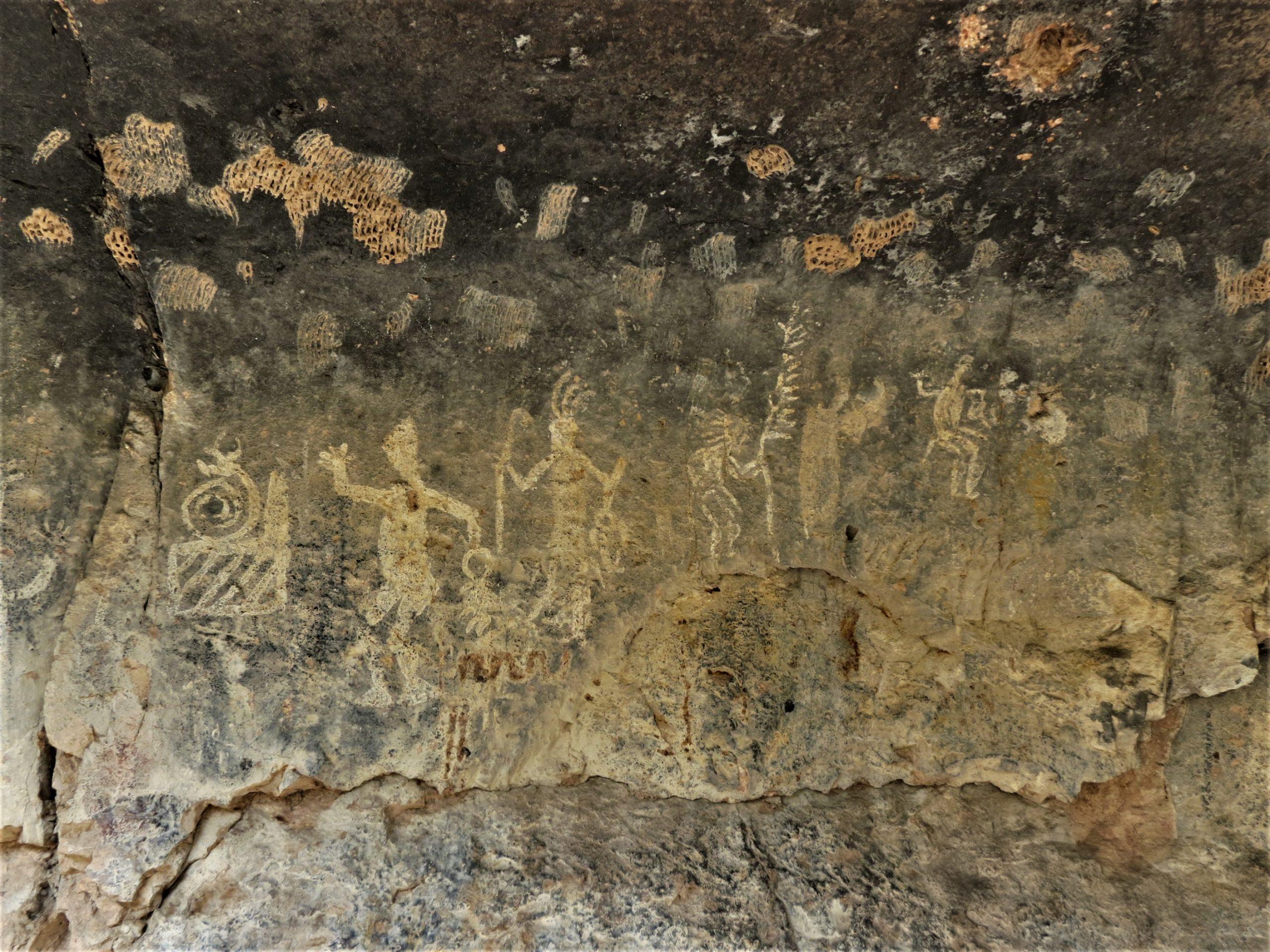 Muro izquierdo de las pinturas rupestres del Tepozan