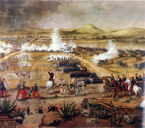 Batalla de Puebla, óleo sobre tela