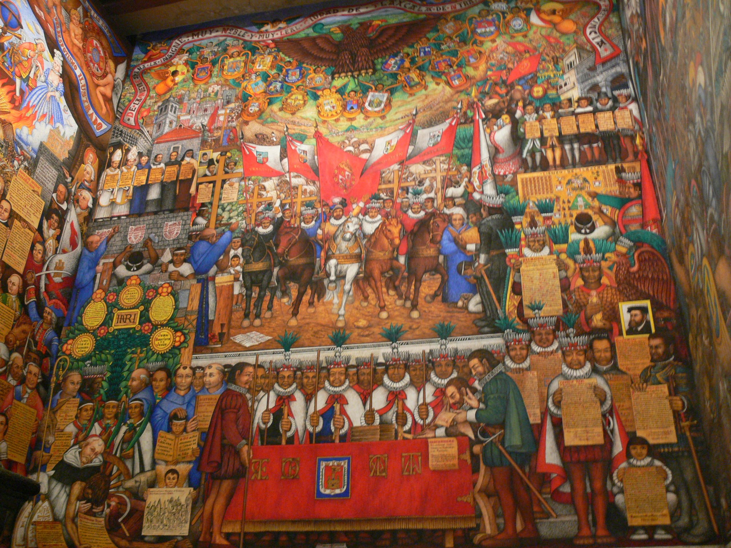 Mural conmemorativo del diseño de la bandera de Tlaxcala
